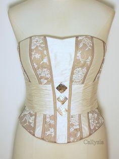 Bustier corset - Baleines acier, laçage dos. Ceinture drapée et dentelle.  Mariage, 3bda0a35c0b