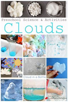 Learn about clouds and weather with these fun science activities for kids! These are perfect, hands-on activities for preschool and kindergarten kids to use at home or in the classroom! These fun ideas will help your child understand all about clouds! #science #kids #learning #preschool #kindergarten Science Experiments For Preschoolers, Preschool Science Activities, Science For Kids, Science Projects, Science Fun, Preschool Kindergarten, Earth Science, Preschool Ideas, Learning Activities