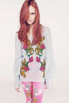 255.00 The Wildfox Couture Pfeiffer Sweater in Baroque Sky is part of their Star Crossed Lovers Collection. The Romeo + Juliet inspired pullover features a baroque, floral design on the front