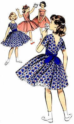 1960s Butterick 9390 Girls Full Skirt Surplice by patternshop, $11.99