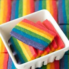 Rainbow Cookies--for my Silly Saturday Session! Rainbow Food, Taste The Rainbow, Over The Rainbow, Rainbow Desserts, Cute Food, I Love Food, Just Desserts, Delicious Desserts, Marshmallow