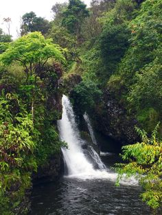 Beautiful Waterfall along the Highway to Hana, in Maui Hawaii.
