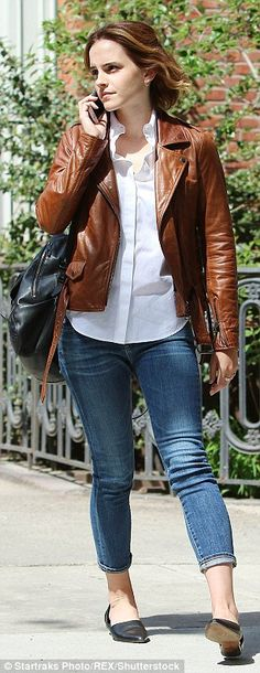Stunning: Emma looked casual but chic on the outing...