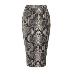 Bodycon Snake Effect Skirt by Tfnc ($33) ❤ liked on Polyvore featuring skirts, mini skirts, black, stretch skirts, bodycon midi skirt, topshop skirts, calf length skirts and mid calf skirts