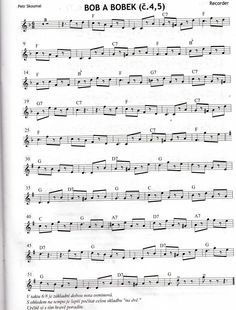 Bob a Bobek Piano Sheet, Sheet Music, Clarinet, Music Theory, Music Notes, Flute, Songs, Musik, Piano Sheet Music