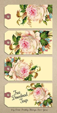 Free Printable Gift Tags: Vintage Rose Manila Tags - Free Pretty Things For You etiquetas tags rosas Vintage Tags, Vintage Diy, Vintage Labels, Vintage Paper, Decoupage Vintage, Vintage Ephemera, Vintage Stuff, Free Printable Gift Tags, Printable Paper