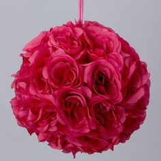Silk flower kissing balls wedding centerpiece 6 inch flower ball fuchsia 7 and 10 inch silk flower pomander kissing balls mightylinksfo Choice Image