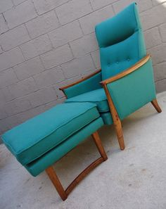 Not usually a fan of vintage furniture, but i really like this....Mid Century Teal Arm Chair and Ottoman