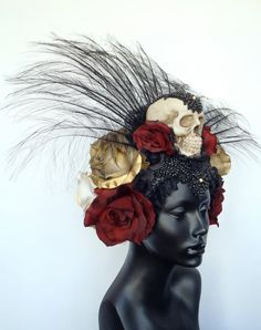 CUSTOM ORDER Day of the Dead Skull & Flower by MissGDesignsShop