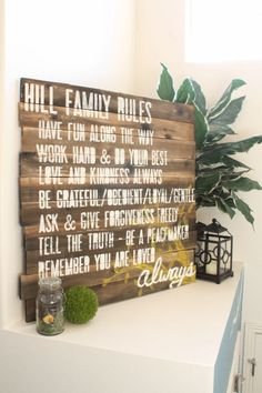 Family Rules Sign -- super easy way to instantly age new wood!