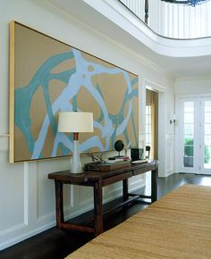 large artwork in civilized room Robert Stilin..love the scale of this piece
