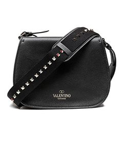Valentino Women's Real Leather Studded Strap Saddle Bag / Handbag