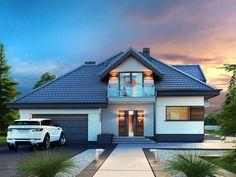 Hausdesign Alicja N – m² - Funmey Modern Architecture House, Modern House Design, Home Building Design, Building A House, House Outside Design, Gable House, Model House Plan, Kerala Houses, Craftsman Style House Plans