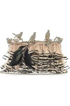 Valentino ( crystal-embellished feather clutch)