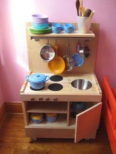 DIY toddler kitchen built from IKEA components via ohdeedoh Toddler Play Kitchen, Diy Kids Kitchen, Toddler Playroom, Toy Kitchen, Kitchen Sets, Mini Kitchen, Toddler Toys, Ikea Kitchen, Kitchen Playsets