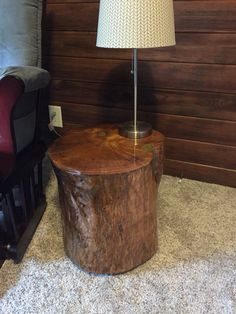 Stump table with metal inlay