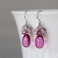 Fushia Pink Glass Drop Czech Glass Swarovski Pearl by YuniDesigns