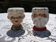 Rare Lefton Santa and Mrs. Clause Eggcups