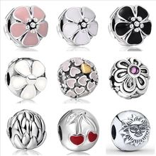 925 Sterling Silver Charm Clip Flower Clasp European Floating Charms Silver Beads For Snake Chain Bracelet DIY Fashion Jewelry(China (Mainland))