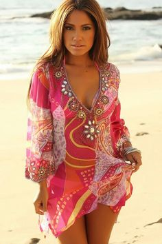 f33fe3fe00 Cover Up Paisley Pink Plunge Tunic Sequins Jeweled Swim Dress