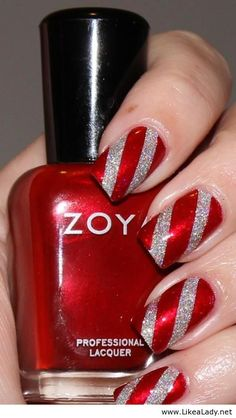 50 Red Nail Art Designs and ideas to express your attitude My x-mas nails 2013 🙂 Cute Christmas Nails, Christmas Nail Art Designs, Holiday Nail Art, Xmas Nails, Christmas Candy, Silver Christmas, Christmas Manicure, Christmas Design, Christmas Nail Designs Easy Simple