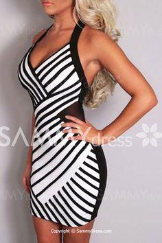 Sexy Halter Sleeveless Striped Bodycon Dress For Women