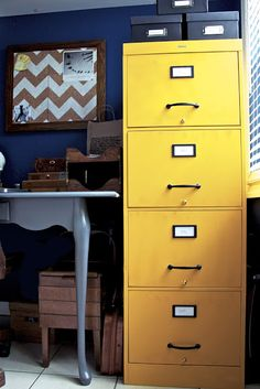 I want to paint the filing cabinet in my office a fun color!!