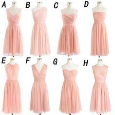 short bridesmaid dress, pink bridesmaid dress, mismatched bridesmaid dress…
