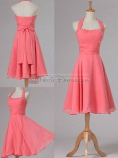Halter A-line Ruched Chiffon Knee length Bridesmaid Dress