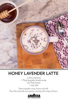Sweet and savory--this Honey Lavender Latte tastes like spring in a cup. Coffee Drink Recipes, Tea Recipes, Coffee Drinks, Cooking Recipes, Lavendar Latte, Lavender Latte Recipe, Lavender Syrup, Fancy Drinks, Yummy Drinks