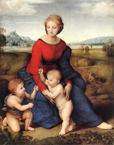 Raphael (Raffaello Sanzio) Italian Painter (High Renaissance) Madonna of the Meadow (Madonna del Belvedere), 1506 (Kunsthistorisches Museum, Vienna, Austria) Italian Renaissance Art, Renaissance Kunst, High Renaissance, Renaissance Paintings, Kunsthistorisches Museum Wien, Saint Jean Baptiste, La Madone, Google Art Project, 16th Century