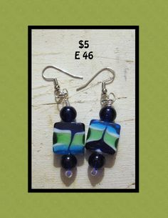 Glass Square earrings with green white blue swirls by 83GypsyRoad, $5.00