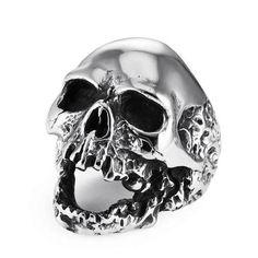 Skull behind bars Stainless steel biker ring Harley Davidson Triumph prison jail