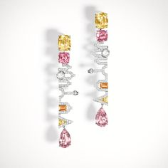 Louis Vuitton earrings in white gold, tourmalines, spessartits, spinels, yellow sapphires and diamonds. La Malle aux Trésors collection