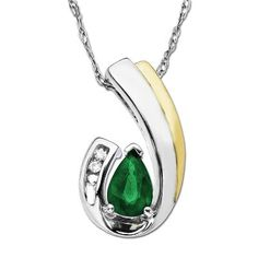 Pear-Shaped Emerald Pendant available at #HelzbergDiamonds