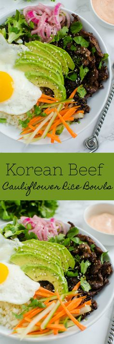 Korean Beef Cauliflower Rice Bowls - delicious sweet and spicy beef with cauliflower rice, veggies, and a fried egg on top! It's paleo but even the non-paleo people in your life will love it!