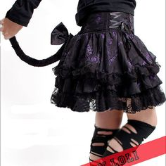 Black Cyber Goth Punk Emo Clothes Catwoman Mini Tutu Skirt Costumes SKU-11406094