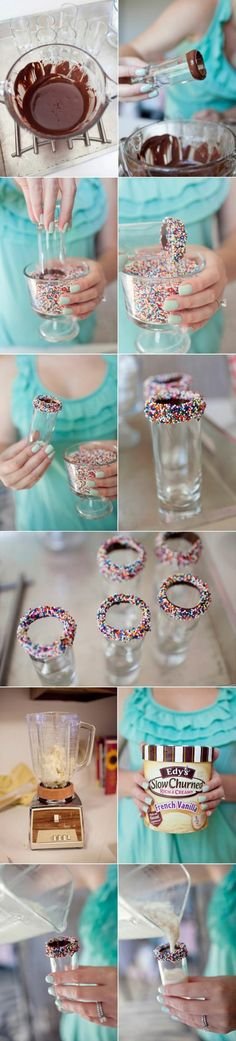 """Rim glasses with chocolate and sprinkles! Make mini milkshakes, """"adult"""" chocolate milk, or your favorite liquid dessert! Yummy Treats, Sweet Treats, Snacks Für Party, Party Drinks, Party Shots, Kid Drinks, Nouvel An, New Years Party, Milkshakes"""