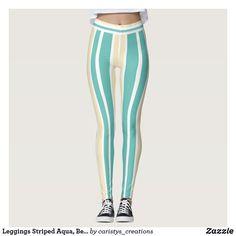 Leggings Striped Aqua, Beige, White White Leggings, Striped Leggings, Women's Leggings, Travel Wear, Cruise Wear, Fitness Wear, Fitness Clothing, Summer Wear, Workout Wear