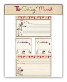 Free Printable Recipe Cards and more
