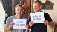 Omaze Matt Damon Ben Affleck, Batman Meme, Matt Reeves, The New Batman, Good Will Hunting, Jason Bourne, Funny Memes, Jokes, Michael Keaton