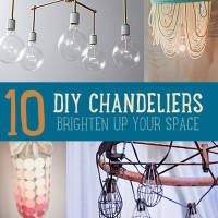 1. Brass Chandelier         (Via One King's Lane)  2. Hanging Flower Chandelier         (Via The Sweetest Occasion)    3. Mason Jar Chandelier     (Via Little Lady Little City)    4. Whirly Candle