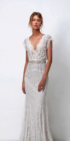 10 Wedding Dress Designers You Want To Know About ❤ wedding dress designers sheath lace v neckline with short sleeves lihi hod ❤ See more: http://www.weddingforward.com/wedding-dress-designers/ #weddingforward #wedding #bride