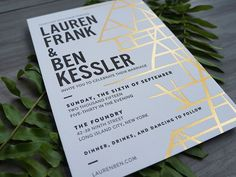 Love these Reich Paper SAVOY invites. 100% cotton tree free letterpress paper, Brooklyn, NY  Modern Black, White, and Gold Foil Wedding Invitations by And Here We Are / Oh So Beautiful Paper