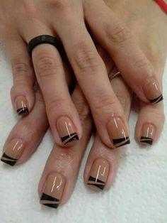 Black nails, black french nails, black nail art, french tips, beautiful nail Fabulous Nails, Gorgeous Nails, Pretty Nails, Nail Manicure, Diy Nails, Black Nail Art, Black Nails, Minimalist Nails, French Tip Nails