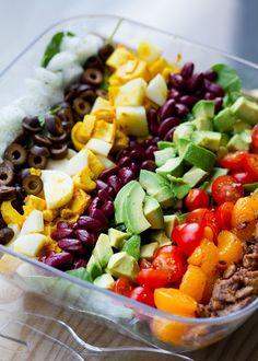 Vegan Cobb Salad  avocados, cherry tomatoes, vidalia onions, mandarin oranges, smoky tempeh bacon bits & tumeric hearts of palms as a stand-in for the eggs  [via gastrogirl: juliasea]