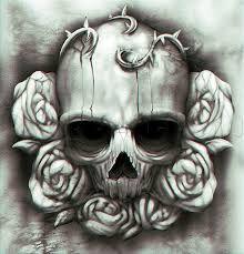 Resultado de imagen para skull and roses tattoo shoulder
