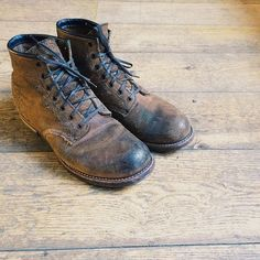 """redwingshoestoreamsterdam: A beautiful pair of Red Wing Shoes 9162 6"""" Classic Round Toe in Hawthorne Muleskinner. I guess we could say this was the older model of the current Blacksmith. The aging of the Hawthorne Muleskinner is probably our favorite! 