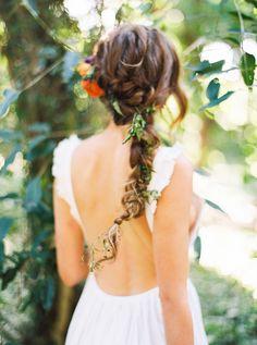 braided wedding hair - photo by Danielle Poff Photography http://ruffledblog.com/bohemian-forest-wedding-editorial-in-maui #weddinghair #braids #bridal
