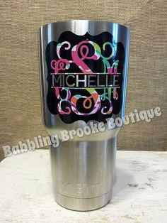 Arrow Monogram  Pattern Options Car Monogram Decal Yeti Decal - Vinyl decals for cups